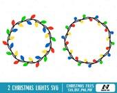 Christmas Lights Svg, Christmas Lights Clip Art, Christmas Lights Monogram Svg, Christmas Svg, Merry Christmas Svg, Svg Files for Cricut