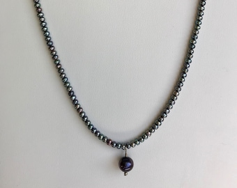 Shades of Gray 4mm Pearl Necklace