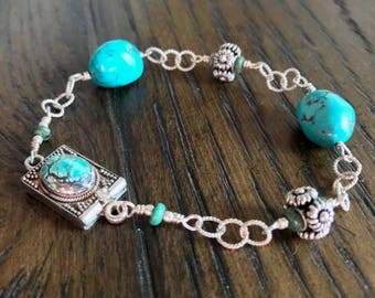 Turquoise and Bali Sterling Silver Bracelet