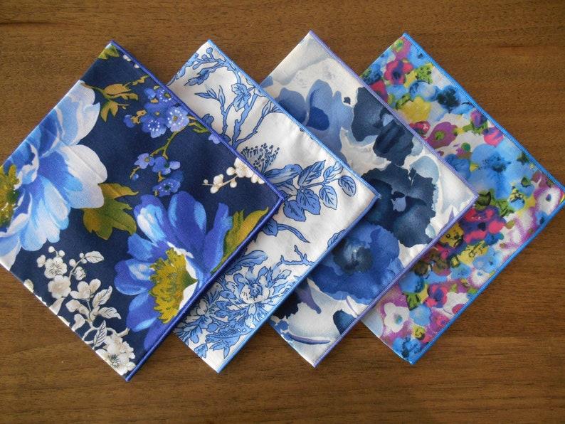 Ladies Japanese Tana Lawn  Fine Cotton Handkerchiefs Set of 4-100/% Cotton Pocket Square  Hankies  Eco-friendly  Waste Free