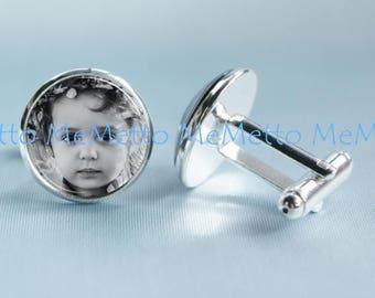 Custom Photo Cufflinks|Personalized Cufflinks Wedding Cufflinks Photograph Image Anniversary Gift| Gifts for MEN Groomsmen Gift