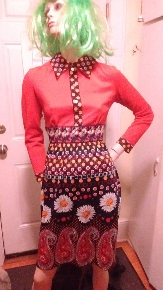 Rad 70s Psychedelic Polyester Dress