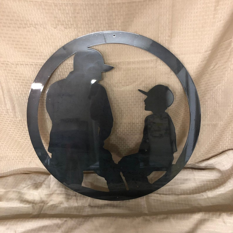 Cut from 14 gauge steel and clear coated Industrial Rustic Father and son coch and young baseball player silhouette metal sign