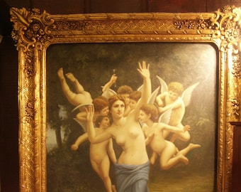 Beautiful VERY large original oil painting based on a master.  Frame is spectacular.  Cupids Cherubs Angels