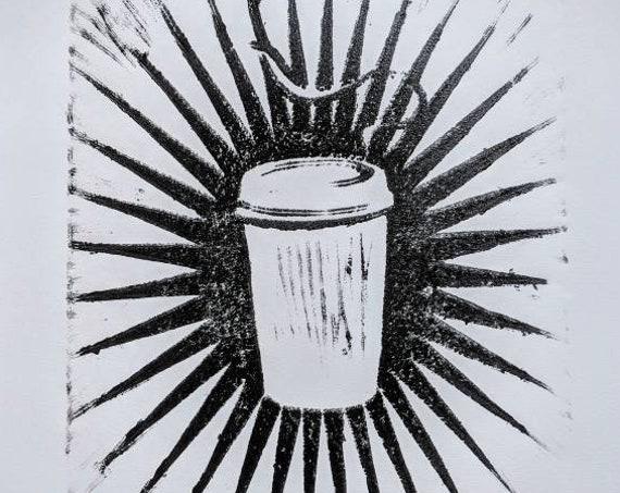 Sacred Coffee Linocut