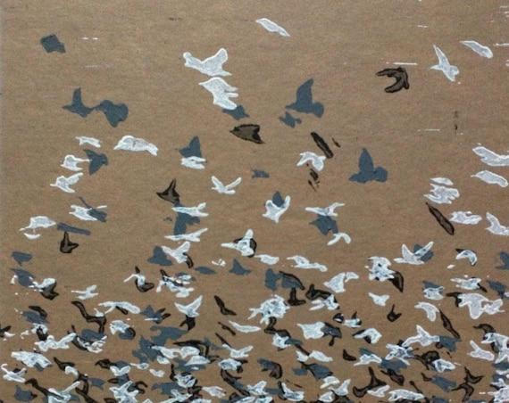 Starlings Linocut