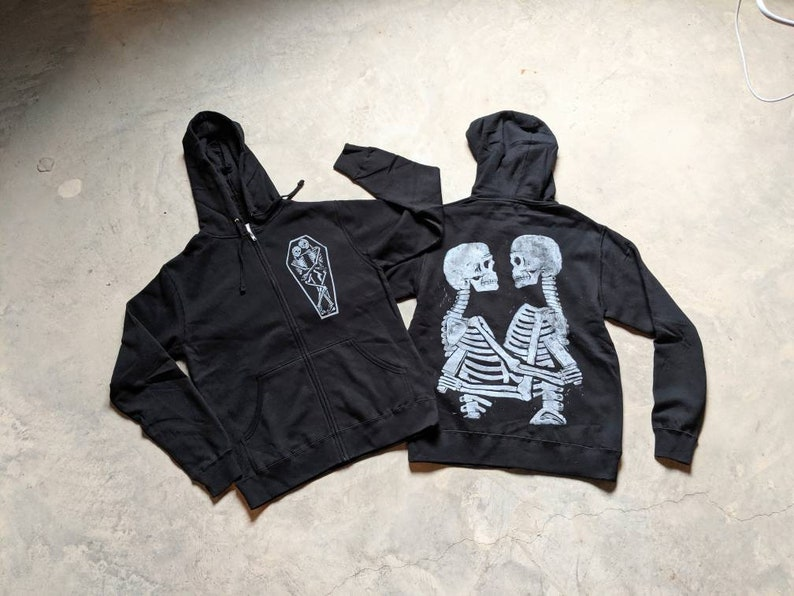 True Love and Hate Skeletons Lightweight Hoodie image 0