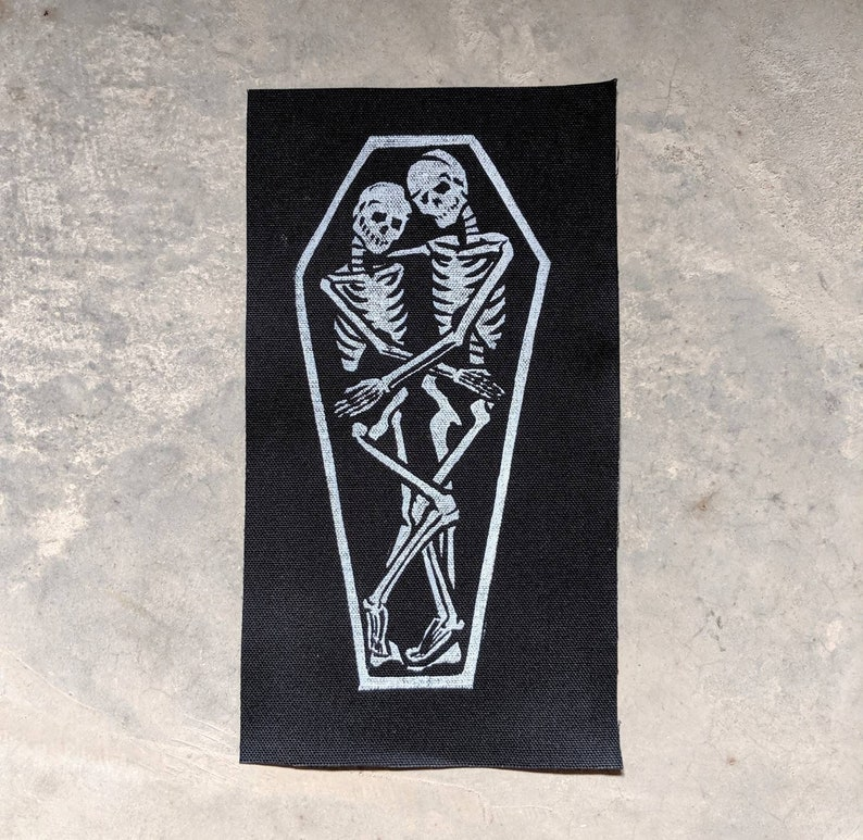 True Love Creepy Cute Skeletons in Coffin Shoulder Patch image 0