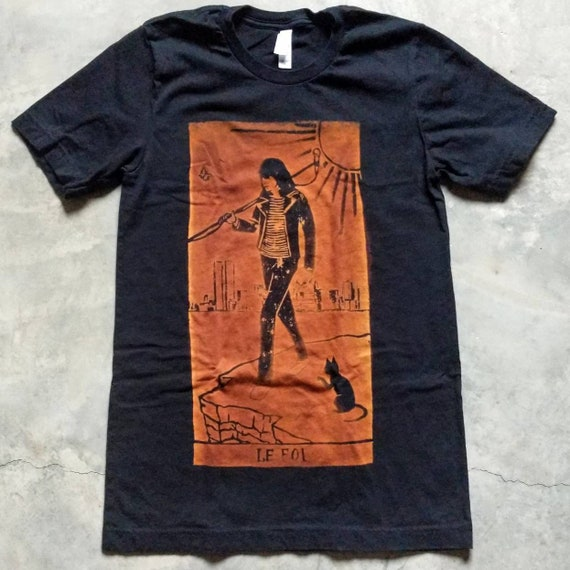 Joey Ramone as The Fool Tarot Bleach Printed Tee