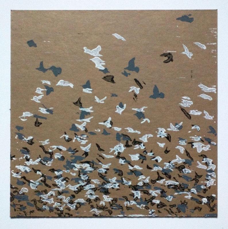 Starlings Linocut image 0