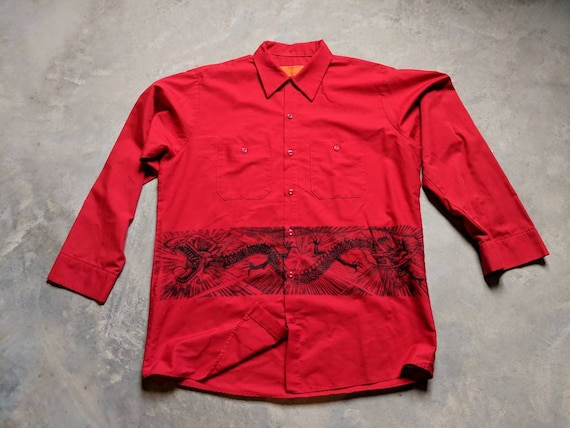 Upcycled Vintage Red Kap Workshirt with Dragon Print