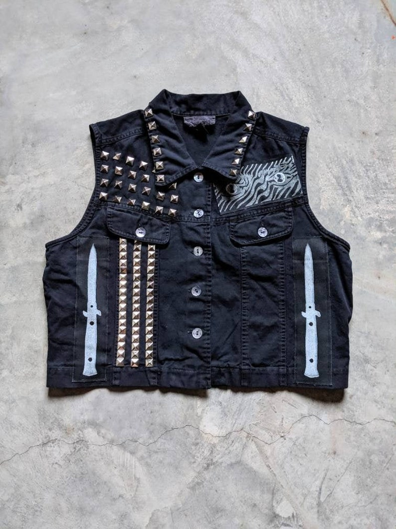 Custom punk vest dyed black tons of patches and studded image 0