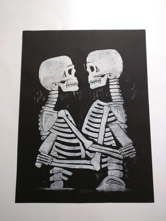 Love and Hate Skeletons Linocut