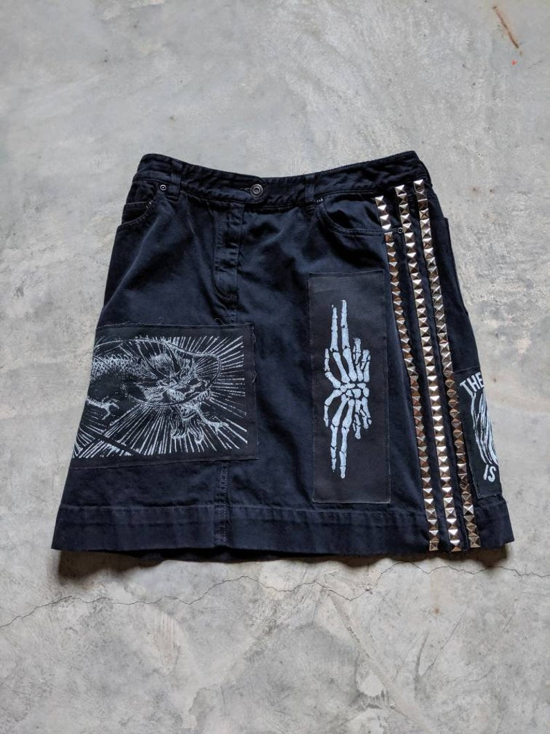 Custom punk skirt patched and studded image 0
