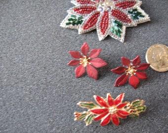 dbfffe68c vintage poinsettia jewelry lot stud earrings