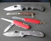 Vintage pocket knife lot of 5, Coast, Schrade, Camp knife, Victorinox, and US klien small rope knife