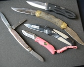 Lot of 5 pocket knives, Rams Horn, pink outdoor edge lockback, imperial, shrade, jowika stockman