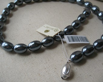 vintage silvery gray pearl bead necklace