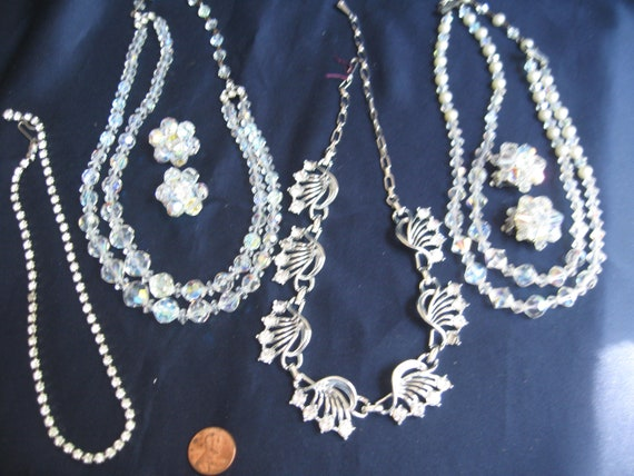 Vintage rhinestone and crystal necklace earring lo