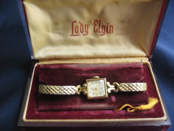 Lady Elgin wristwatch in original Lucite box, Vint