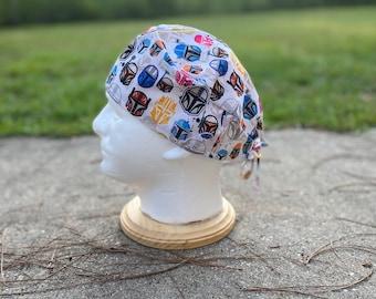Chemo cap Scrub Cap Star wars baby yoda mandalorian Surgical Cap with toggle Chef Nurse Doctor Theatre Vets Cotton