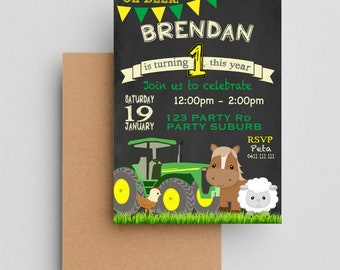 Tractor Invitations Birthday Invitation John Deere Inspired Theme Invite Printable File