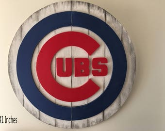 Chicago Cubs 3D sign, Distressed Wooden Sign