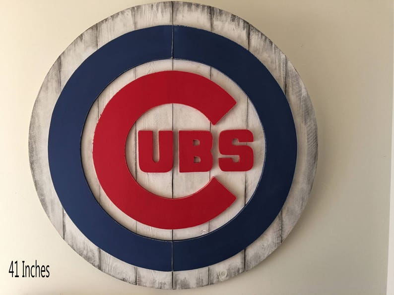 Chicago Cubs 3d Sign Distressed Wooden Sign