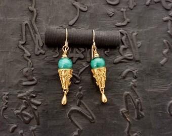 Malachite and 24K vermeil earrings, boho chic bohemian eclectic handmade artisan dangle elegant Byzantine Etruscan tribal chic rustic glam