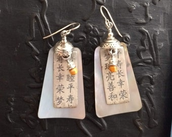 Lightweight earrings of mother of pearl, sterling silver and spiney oyster, boho chic bohemian eclectic handmade artisan ethnic Asian folk