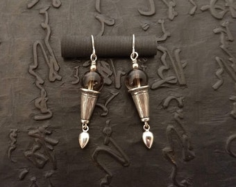Smokey quartz with sterling silver earrings tribal chic bohemian eclectic ethnic nomad handmade artisan dangle earthy lightweight unusual