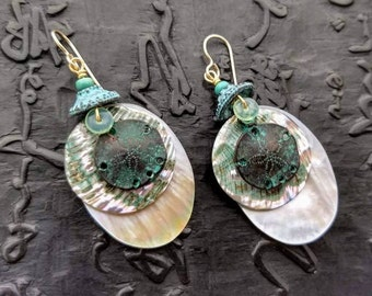 Sand dollar, abalone and mother of pearl earrings light weight seashore seashells ocean summer shell