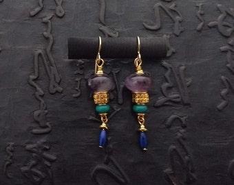 Amethyst, turquoise and 24k vermeil earrings Byzantine Etruscan feminine elegant gift for her eclectic nomad artisan handmade bohemian boho