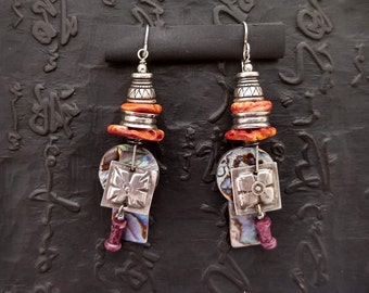 Lightweight earrings of abalone, spiny oyster and sterling dangle gypsy modern relic rustic hand made artisan ethnic earthy unique tribal