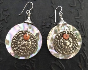 Large Australian abalone shell, replica cast from an antique Berber style jacket ornament, spiny oyster shell earrings, light weight tribal