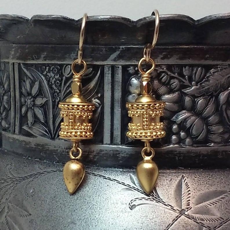 24k granulated vermeil earrings boho bohemian eclectic handmade artisan dangle gypsy modern relic Byzantine Etruscan tribal chic rustic glam