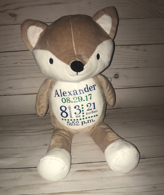 Birth Announcement Stuffed Animal Personalized Stuffed Etsy