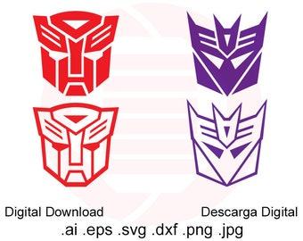 Transformers SVG DXF clipart vector Autobot Decepticon cut file symbol logo printable wall art decal ornament decoration digital download