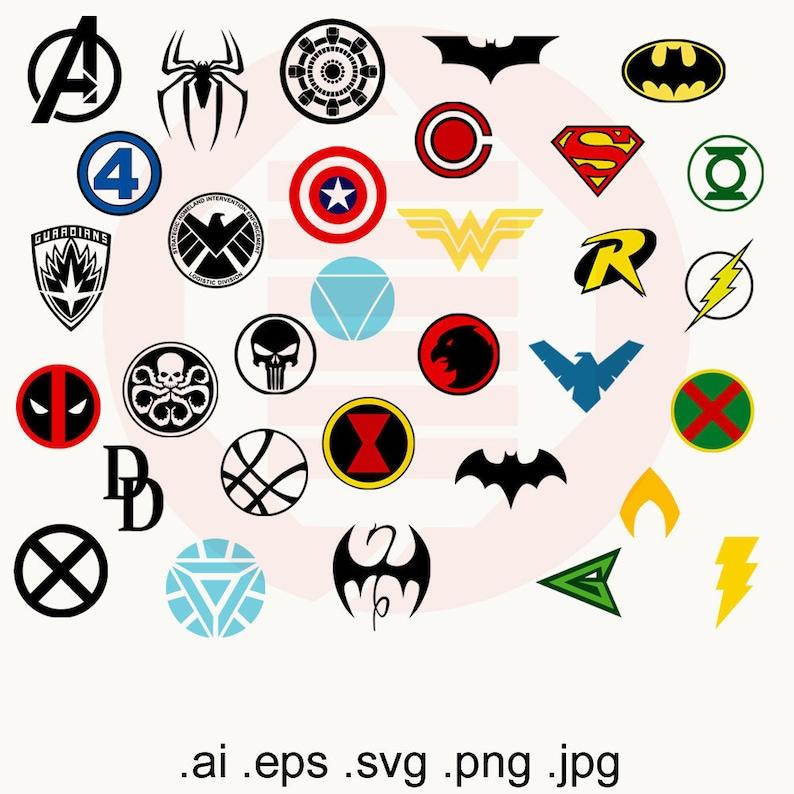 Superhero SVG symbol printable wall art decal clipart logos Avengers  Justice League Superman Batman Captain America Spiderman gift download