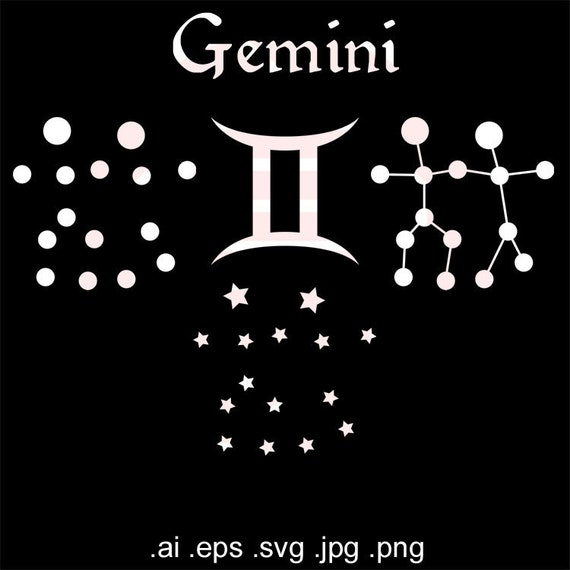 Zodiac Svg Clipart Gemini Astrology Symbol Constellation Etsy