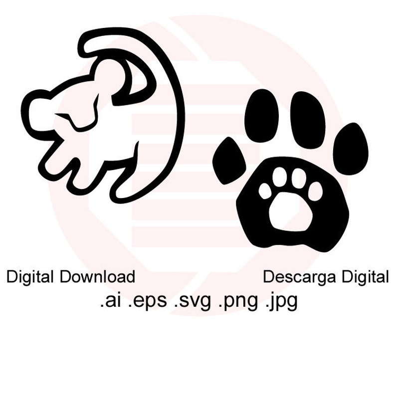 graphic regarding Disney Silhouette Printable identify Lion King Simba SVG Disney silhouette Lion paw keep track of clipart decor children youngster nursery space minimize record printable decal birthday electronic down load