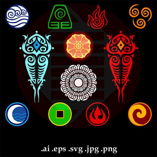 Avatar The Last Airbender Svg Clipart Vector Art Symbol Cut Etsy