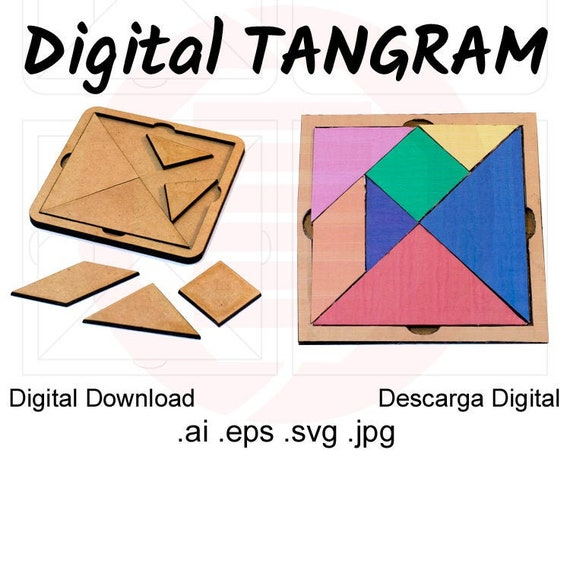 graphic relating to Tangram Template Printable known as Laser slash documents MDF vector picket Tangram puzzle printable template SVG Small children craft Programs Woodwork routine fashion task electronic obtain