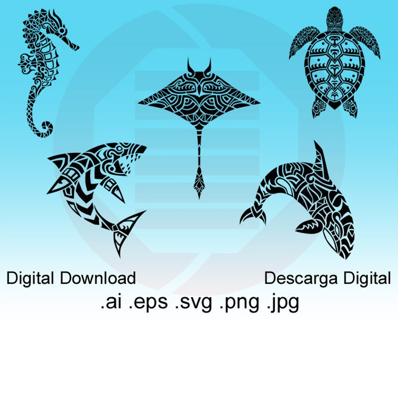 64626d74a Ocean marine animals SVG clipart tribal vector printable wall | Etsy