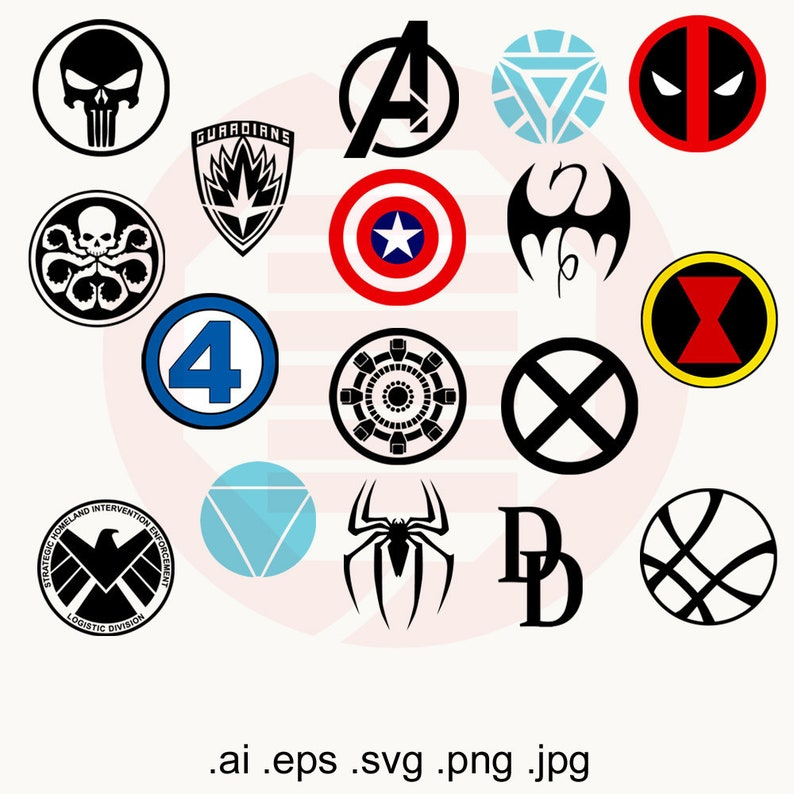 Supehero Avengers SVG clipart symbols logo vector printable wall art decal  Ironman Shield Captain America Spiderman birthday gift download