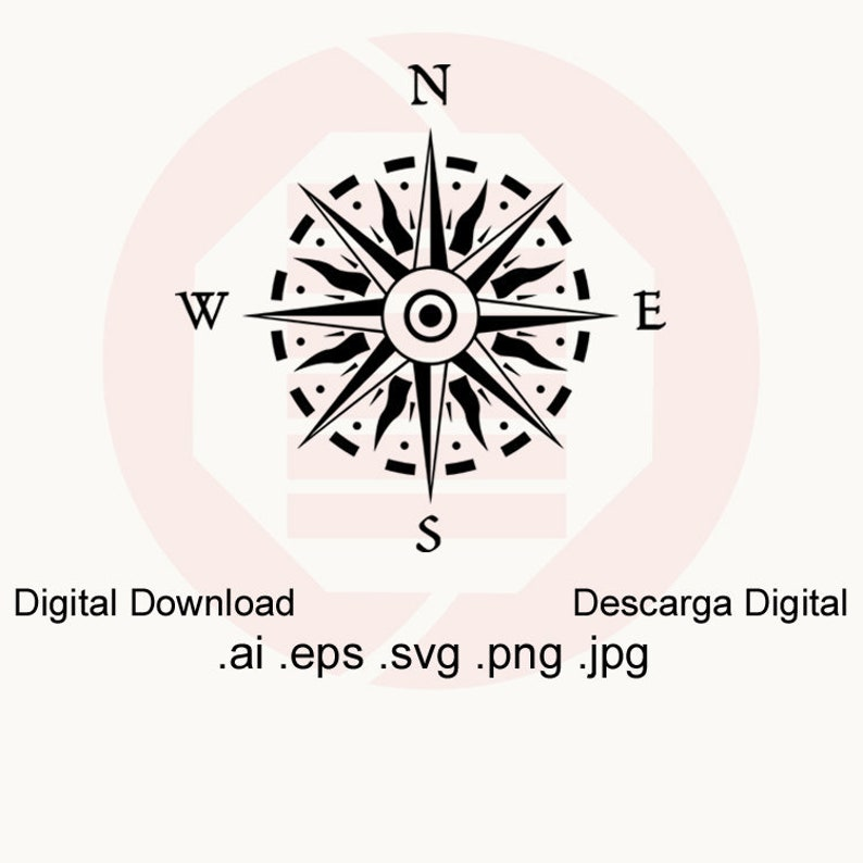 photo about Printable Compass Rose called Comp rose SVG Nautical windrose maritime printable wall artwork decal Rose of winds vector clipart sea dwelling decor minimize history electronic down load