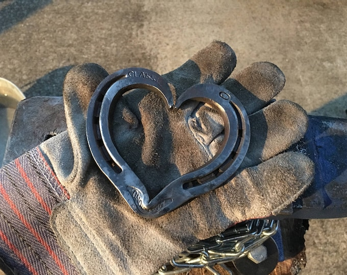 Featured listing image: Hand Forged Steel Horseshoe Heart | Blacksmith Made, Steel Hearts, Horseshoe Heart, Anniversary Gift, Valentines Day Gift, Barn Wedding Gift