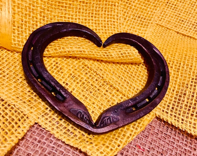 Featured listing image: Wax-Blackened Hand Forged Steel Horseshoe Heart | Blacksmith Made, Steel Hearts, Horseshoe Heart, Anniversary Gift, Valentines Day Gift