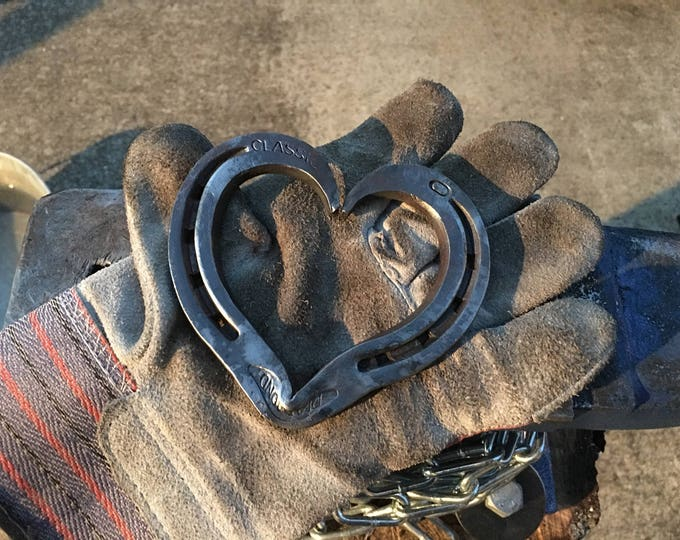 Featured listing image: Hand Forged Steel Horseshoe Heart   Blacksmith Made, Steel Hearts, Horseshoe Heart, Anniversary Gift, Valentines Day Gift, Barn Wedding Gift