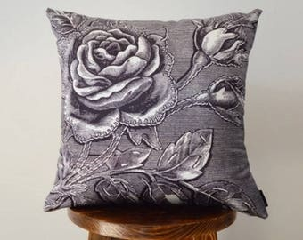 Black and white rose classic stamp sofa pillow